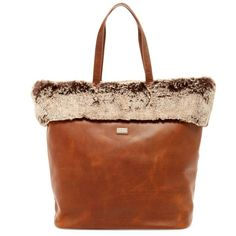 Australia Luxe Collective Barwell Faux Fur Trim Leather Tote (10.930 RUB) ❤ liked on Polyvore featuring bags, handbags, tote bags, mahogany faux fur, brown leather purse, zip top leather tote, handbags totes, leather purses and tote handbags