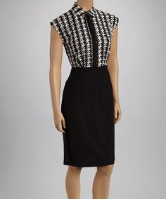 This Off White & Black Houndstooth Cap-Sleeve Dress by Shelby & Palmer is gorge!