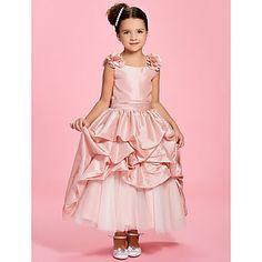 A-line Bateau Ankle-length Taffeta Flower Girl Dress - USD $ 79.99