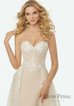 Randy Fenoli Bridal, Elizabeth Wedding Dress   Style 3401. Crystal Beaded, Three-Dimensional Embroidery and Lace on Strapless, Sweetheart Tulle Sheath Gown with Detachable Box Pleated Tulle Overskirt with Pockets.