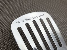 Personalized Hand-Stamped Burger Flipper: unique gift, men's gift, father's day spatula, Valentines Day