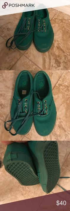 Green vans Green vans brand-new without a box there green with gold shoe lace holes they are a size women's 10 a men's 8 1/2.. nothing wrong with them my son just right of them before wearing them Vans Shoes Athletic Shoes
