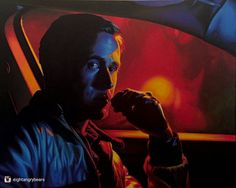 """Incredible acrylic from @eightangrybears check out their page for more great art. 'Very close to finishing. Just some final details left and then onto the next one...""""drivE"""" - 24""""x30"""" Montana Acrylic Paint pens (@montanacans_usa) on canvas'. . . #wip #popart #painting #portrait #movies #films #fanart #art #illustration #picture #artist #sketch #sketchbook #paper #pen #pencil #artsy #instaart #beautiful #instagood #gallery #masterpiece #creative #photooftheday #instaartist #graphics…"""