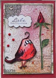 Sophie's Art: Crazy Birds mit Rose