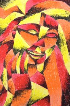 9 - Oil Pastel - Sunset Lady