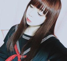 えいえんの16()なのでセーラー着た👾👾👾 昨日卒業式の高校生めっちゃプリとってて、ア〜〜〜😇😇って気持ちになりました #セーラー服 #制服 #ぱっつん #ロングヘアー #ダークレッド #japanesegirl #japan🇯🇵