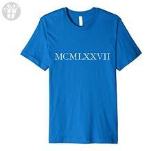 Mens Vintage MCMLXXVII 1977 Birthday T-Shirt Large Royal Blue - Birthday shirts (*Amazon Partner-Link)