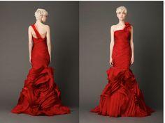 red wedding dress from vera wang