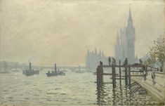 The Thames below Westminster  about 1871, Claude-Oscar Monet National Gallery Londonhis is one of the works produced by Monet when, like Pissarro and Daubigny, he moved to London during the Franco-Prussian War (1870-1). Pissarro worked mainly in south London, while Monet painted the parks of central London and the River Thames.