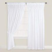 """White Smocked Top Curtain 42"""" x 96"""" $32.99/panel. For dressing room window - hang close to ceiling & have Jonathan move over shelving for curtains to clear."""
