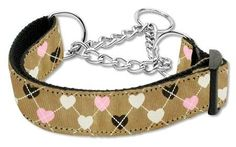 Mirage Pet Products Argyle Hearts Nylon Ribbon Martingale Collar for Pets, Medium, Tan -- Additional details found at the image link  : Collars for dogs
