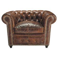 Fauteuil capitonné Chesterfield en cuir marron - Vintage