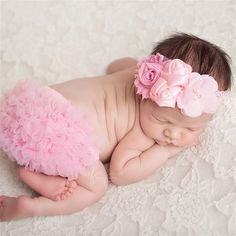 Pink Lace Flower Headband poshlittlebaby.com