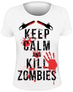 Tee Shirt Femme DIVERS - Keep Calm & Kill Zombies  - http://rockagogo.com