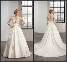 3/4 Long Sleeves A Line Satin Wedding Dresses 2015 Sheer Deep V Neck Lace Appliques Ruched Band Kr Bridal Gowns Cosmobella 7746 Court Train A Line Strapless Wedding Dress A Line Strapless Wedding Dresses From Kerenwedding, $152.8| Dhgate.Com