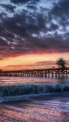 Pier, Sunset, Evening, Beach, Sea, Landscape http://biguseof.LifeStartsAt21.com