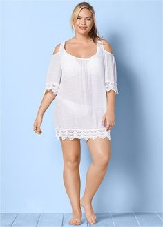 Cold shoulders and crochet! Crinkle fabric is easy care and perfect for packing. This Plus Size Cold Shoulder Cover-Up Dress is perfect for a beach day. Bathing Suit Dress, Plus Size Womens Clothing, Plus Size Swimwear, Crochet Trim, Plus Size Dresses, Cover Up, Cold Shoulder Dress, Swimsuits, Hemline