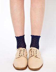 ++ 60 den mini polka dot ankle socks