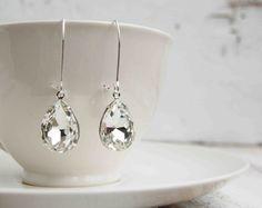 Big Crystal EARRINGS Vintage PEAR Tear Drop Estate Stye Hollywood Glamour Wedding BRIDE