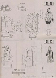 Jacket with different sleeves & vest pattern.