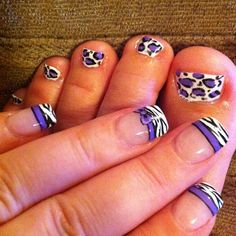 Zebra fingers (inspired by Robin Moses) and leopard toes. :)