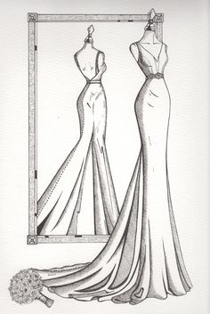 Personalised Mirror View wedding dress illustration from Wedding Dress Ink wedding dresses sketch Mirror View Sketch - Wedding Dress Ink