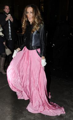 Sarah Jessica Parker--what could be cooler than a black leather moto jacket with a pink ball gown skirt??