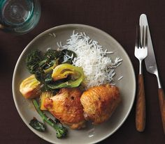 Ginger-Roasted Chicken With Bok Choy and Broccoli recipe