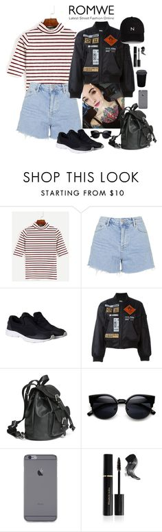 """""""Burgundy striped high neck t shirt"""" by youngsmile ❤ liked on Polyvore featuring Topshop, Monki, Kokon To Zai, adidas, Elizabeth Arden and New Black"""