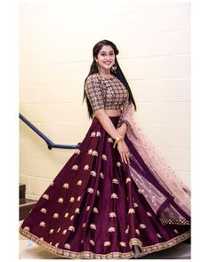 The talented Reginaa Cassandraa in Mythili lehenga from Meenakshi collection Of Mrunalini Rao.Styled by Anu Pellakuru . Half Saree Designs, Choli Designs, Lehenga Designs, Dress Designs, Indian Wedding Outfits, Bridal Outfits, Indian Outfits, Eid Outfits, Pakistani Outfits