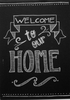 chalk art. welcome sign.
