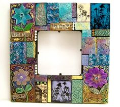 "Handmade Polymer Clay Tile Mosaic Picture Frame, Jewel Tone Mosaic ""Loose Yourself in Nature"" by BobblesByCarol, $45.00 USD"
