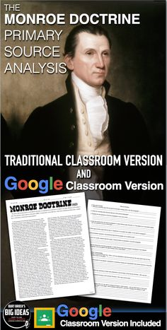 Monroe Doctrine Primary Source Worksheet teaches students about the meaning and significance of the Monroe Doctrine in 1823, by examining this primary source document using common core standards. This can be used as homework or for substitute plans as it's a completely stand alone assignment. I have used this with both AP U.S. History and regular U.S. History courses. Key is included.                                       #HistoryLessonPlans #socialstudies Teaching American History, American History Lessons, Teaching History, Monroe Doctrine, History Lesson Plans, Primary Sources, Teaching Social Studies, Common Core Standards, Homework