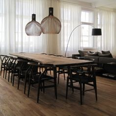 | DINING | #timber dining table w black chairs, sheer curtains.