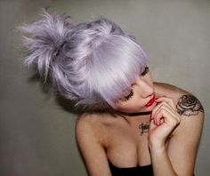 lavender hair :: black and white rose