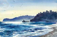 Wayne La Com - Half Day Boat, Santa Monica Bay, California art, original California watercolor art for sale, fine art print for sale, giclee watercolor print - CaliforniaWatercolor.com