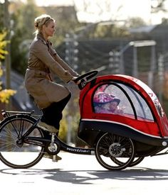 Leave it to the Danes to invent the baddest mom and tot bike on the block. This luxe cabin is the antithesis of wobbly trailers: you can see your little one at all times and open the sun roof or the windows, the seats are rear or forward facing and it handles a load of 100kg. $3,899, Winther.