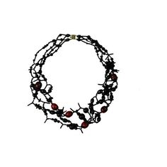 Artist Made Vintage Beaded Necklace Black & Red