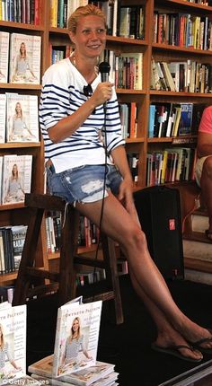 #Gwenyth Paltrow #Cookbook Signing London #stripes Those legs...