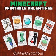 Free Printable Minecraft Valentines #minecraft #PrintableValentines #videogames