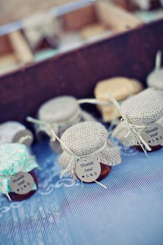 DIY honey jar favors (would be so cute with a clothes pin, leaf tag, tea bag and ribbon)