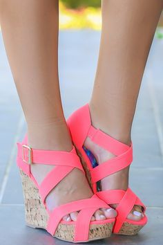 Neon coral cork wedges