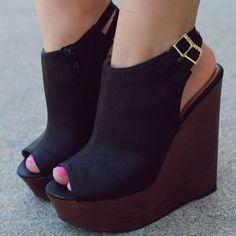 Shoespie Black Slingbacks Wedge Sandals