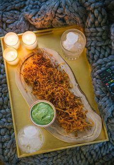 Haystack Sweet Potato Chips + Creamy Avocado Dip