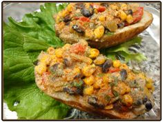 Southwestern Twice Baked Potatoes from Forks over Knives.  Loving our Whole Foods Plant Based Diet!