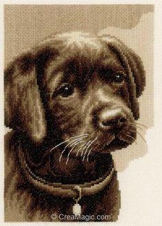 Kit tableau point de croix Vervaco chiot labrador noir PN-0158080