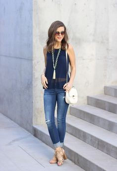 Navy necklace, jeans outfit summer, le tote, jeans with heels, sweaters and Old Navy Outfits, New Outfits, Spring Outfits, Fashion Outfits, Outfit Summer, Women's Fashion, Summer Fashion For Teens, Womens Fashion For Work, Ropa Old Navy