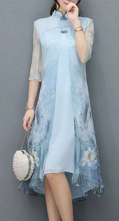 Best 12 Women's Party Special Occasion Business Other Daily Vintage Chinese Style Dress Pretty Dresses, Beautiful Dresses, Modest Fashion, Fashion Dresses, Casual Dresses, Light Blue Dresses, Elegant Outfit, Asymmetrical Dress, Chinese Style