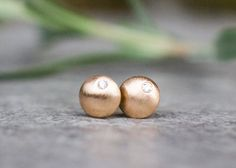 Petite, modern round disc stud earrings with diamonds by Arpelc
