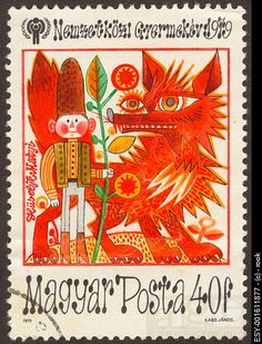 """""""vibrant Hungarian postage stamp""""  I have this! Odd. Bit scary... I have so many Magyar stamps. SO many."""